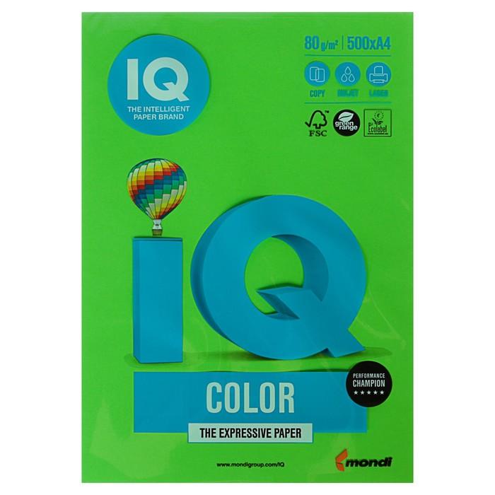 Бумага цветная А4 500 л, IQ COLOR, 80 г/м2, зеленый, MA42 - фото 1652070