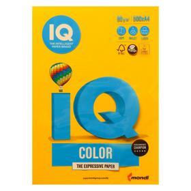 Бумага цветная А4 500 л, IQ COLOR, 80 г/м2, желтый, SY40