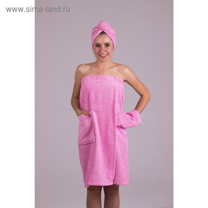 Банный комплект женский, цвет светло-розовый