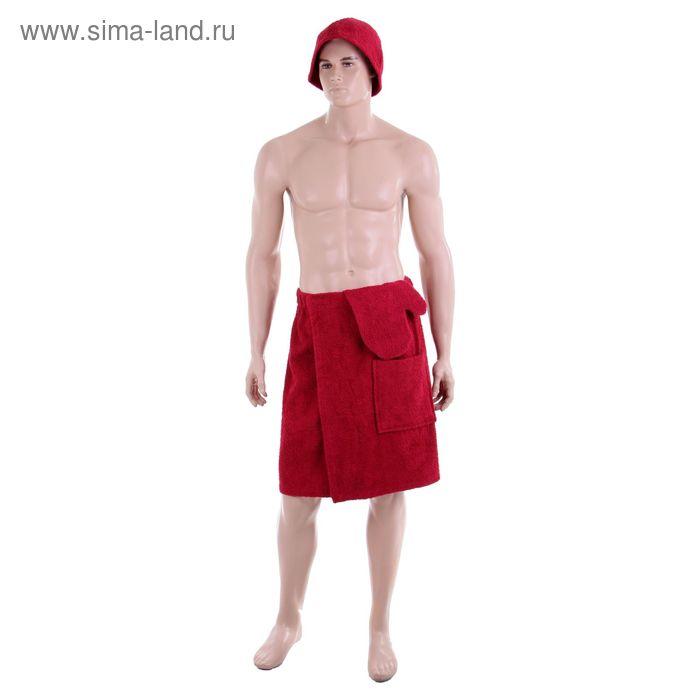 Банный комплект мужской, цвет бордовый