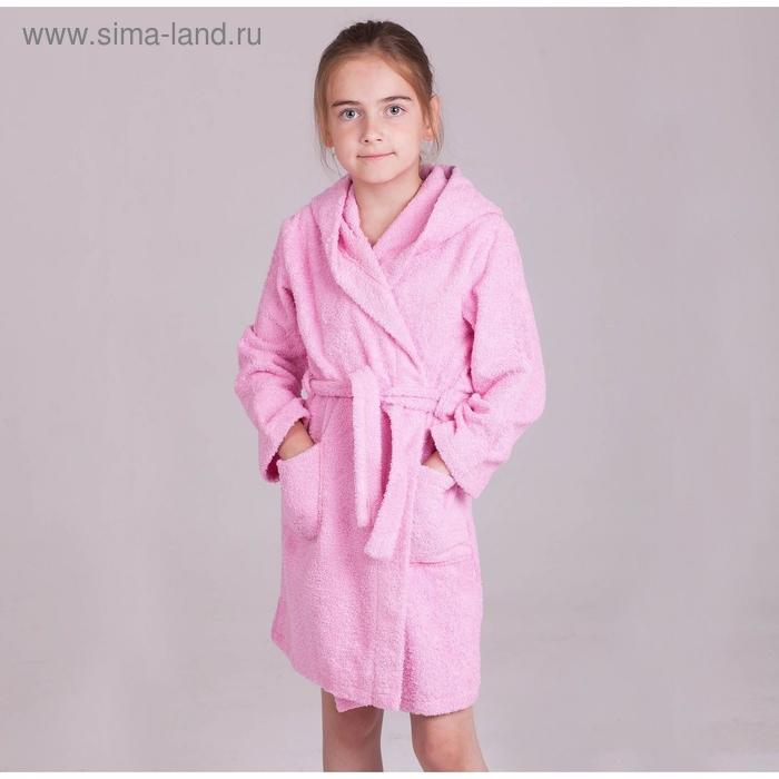 Халат детский  махровый, рост 134 см (34), цвет светло-розовый D283