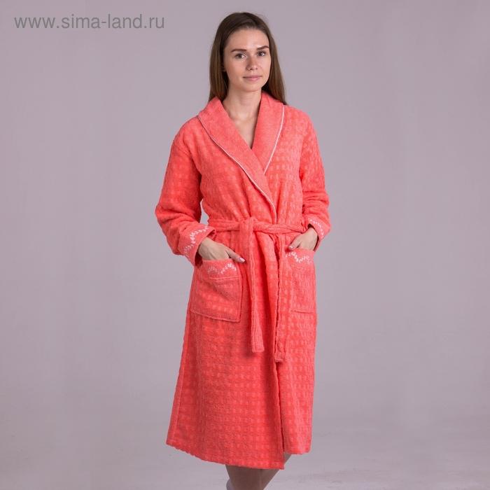 Халат  женский, размер 60, цвет персиковый 2017