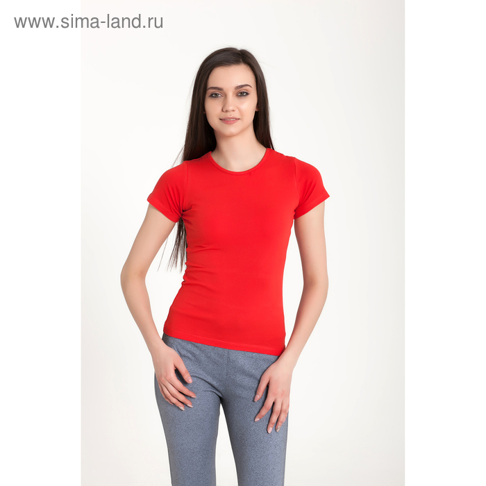 Футболка женская, размер 50-52 (XL), цвет красный (арт.VSE25prn)