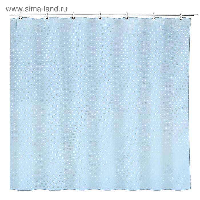 """Штора для ванной """"Горох"""", 180*180 см, ПЭВА, цвет синий"""