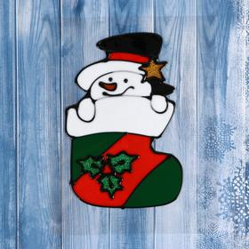 "The sticker on the glass ""Snowman in sock for gifts"""
