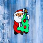 """The sticker on the glass """"Santa Claus with Christmas tree"""""""