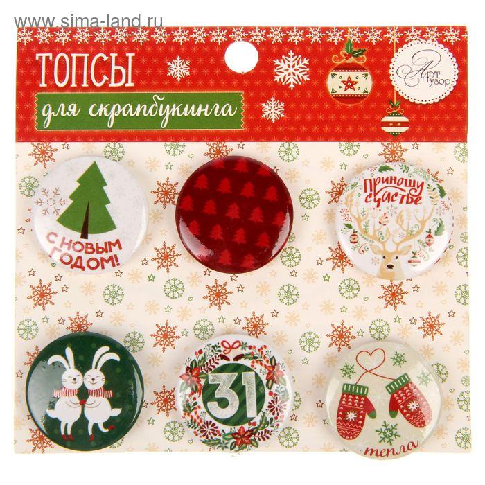 "Набор топсов (фишек) для скрапбукинга ""Christmas diary"", 9 х 9,5 см"