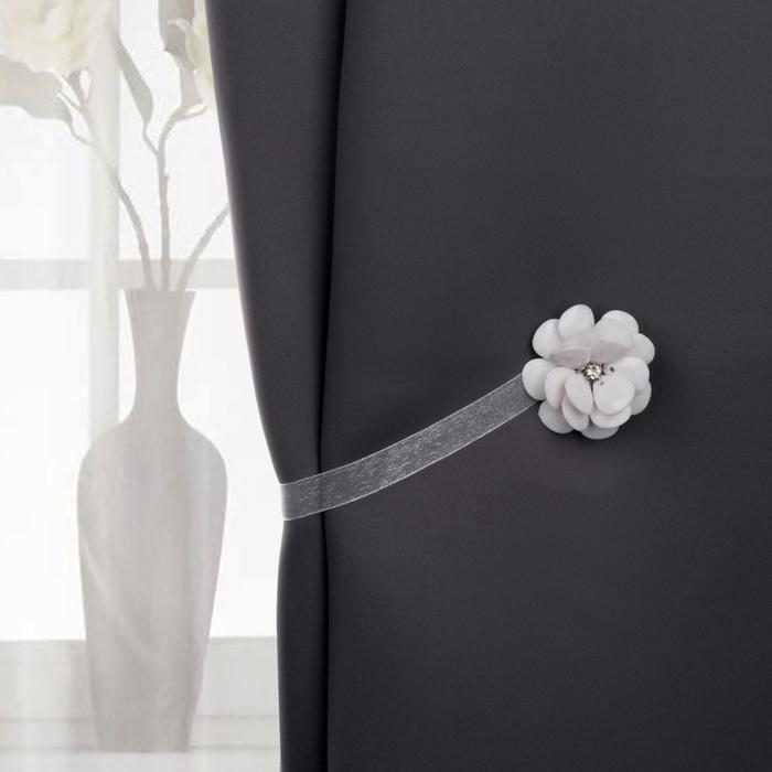 "Подхват для штор на ленте ""Пион"", цвет белый"