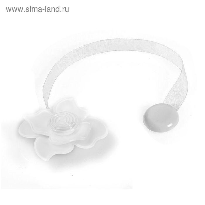 """Подхват для штор на ленте """"Нежная роза"""", цвет белый"""