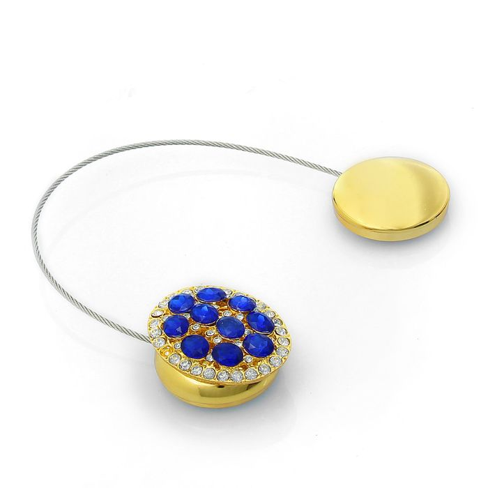Подхват для штор «Овал», цвет золотой/синий