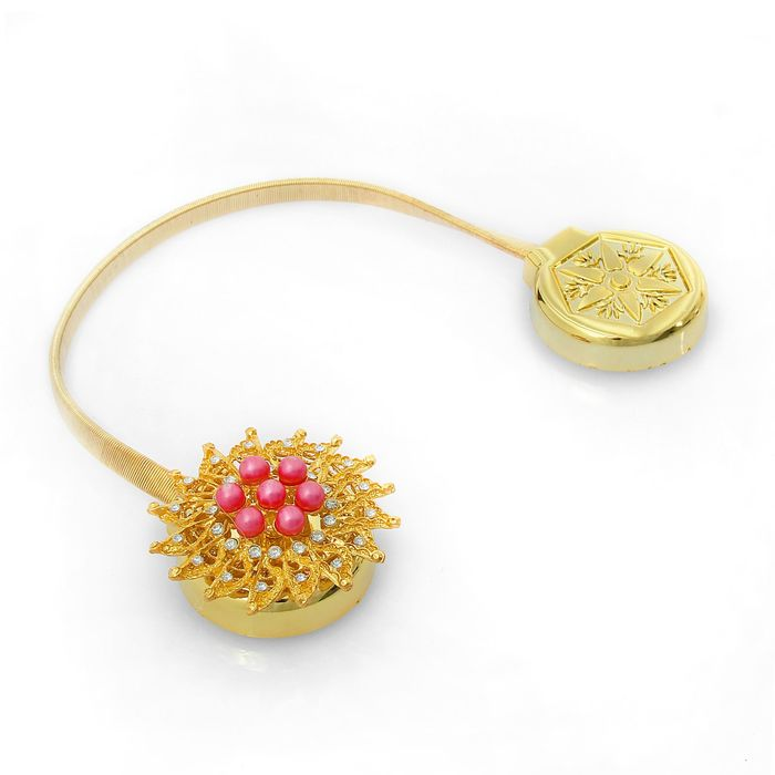 Подхват для штор, пружинная петля «Жаннет», цвет розовый/золотой