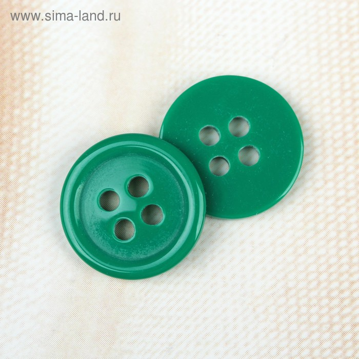 Пуговица на 4 прокола, 15мм, цвет зелёный