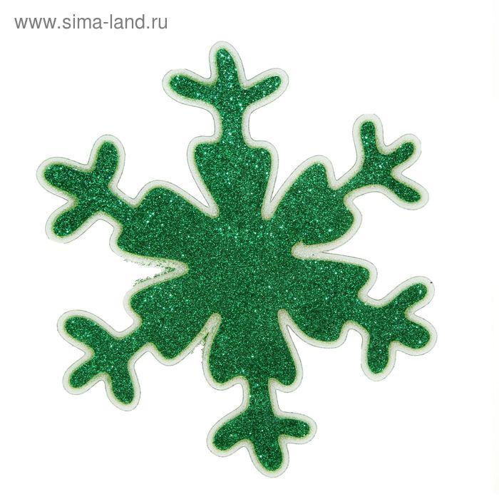 """Наклейка на стекло """"Снежинка"""" зелёный блеск"""