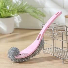 Губка для посуды металлическая с ручкой 24×5 см, цвет МИКС