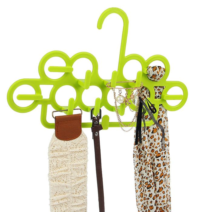 Вешалка для ремней и галстуков 35×21 см, 12 крючков, цвет МИКС