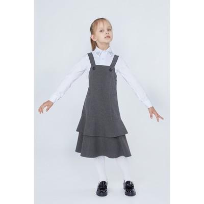 Сарафан для девочки, рост 146 см (11 лет), цвет тёмно-серый 13-004