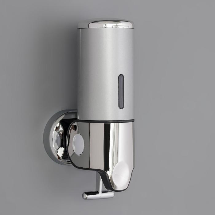 Диспенсер для жидкого мыла механический, 400 мл, металл, цвет серый