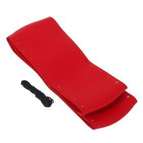 Сшивной чехол на руль, искусственная кожа, 90 х 10 см, красный