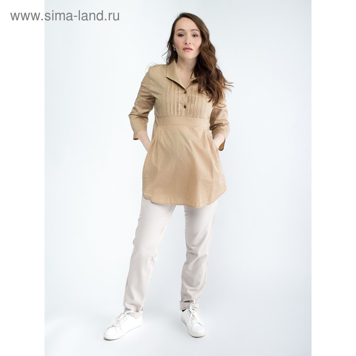 Блузка женская для беременных, размер 46, рост 168, цвет бежевый (арт. 0347)