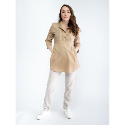 Блузка женская для беременных, размер 48, рост 168, цвет бежевый (арт. 0347)