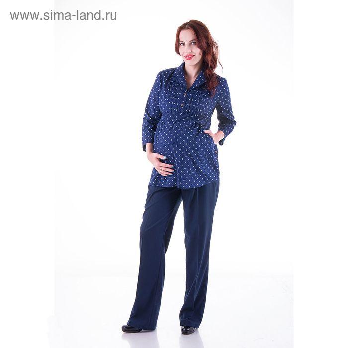 Блузка женская для беременных, размер 50, рост 168, цвет синий (арт. 0347)