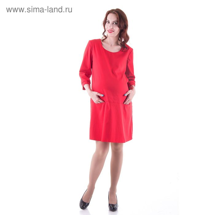 Платье женское для беременных, размер 46, рост 168, цвет красный (арт. 0332)