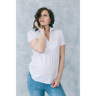 Блузка короткий рукав женская для беременных, размер 46, рост 168, цвет белый (арт. 0084)