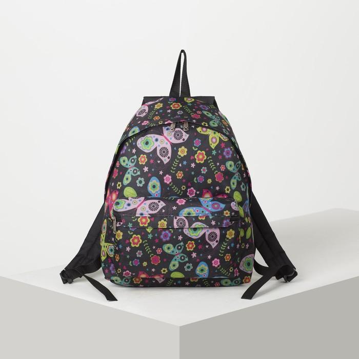 Рюкзак молодёжный, отдел на молнии, наружный карман, цвет чёрный - фото 418356511