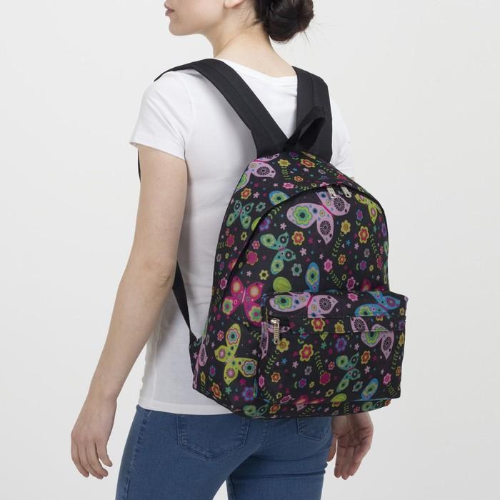 Рюкзак молодёжный, отдел на молнии, наружный карман, цвет чёрный - фото 418356512