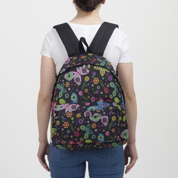 Рюкзак молодёжный, отдел на молнии, наружный карман, цвет чёрный - фото 418356513