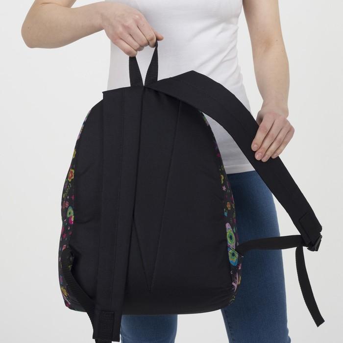 Рюкзак молодёжный, отдел на молнии, наружный карман, цвет чёрный - фото 418356515