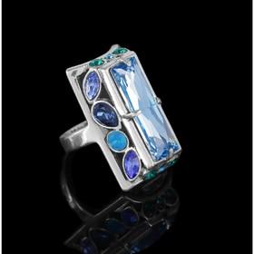 Кольцо 'Донизети', размер 17, цвет голубой в чернёном серебре Ош