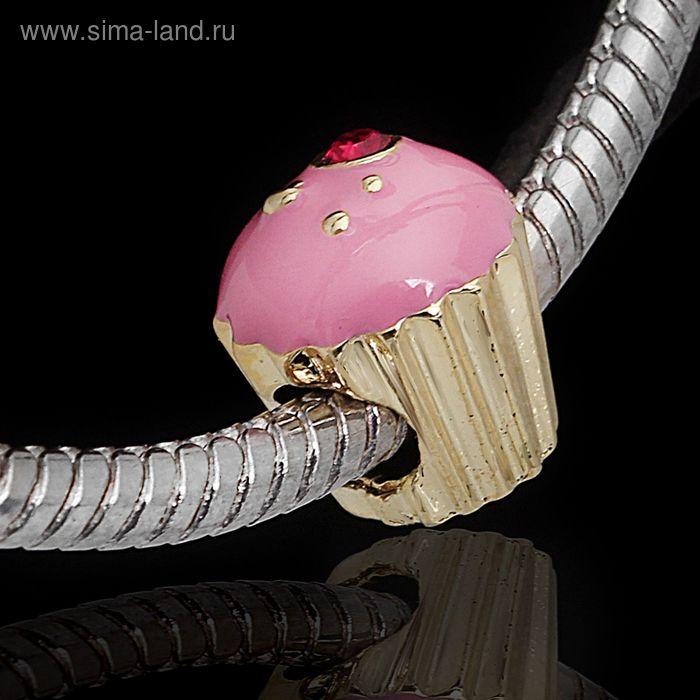 """Бусина """"Кейк"""", цвет розовый в золоте"""