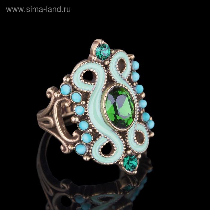 """Кольцо """"Шер"""", размер 17, цвет тёмно-зелёный в бронзе"""