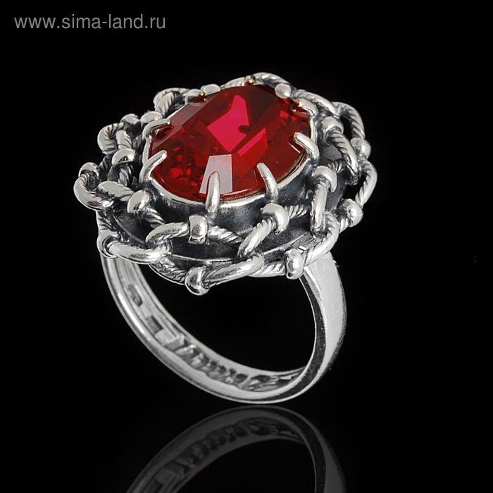 """Кольцо """"Эланта"""", размер 17, цвет красный в чернёном серебре"""