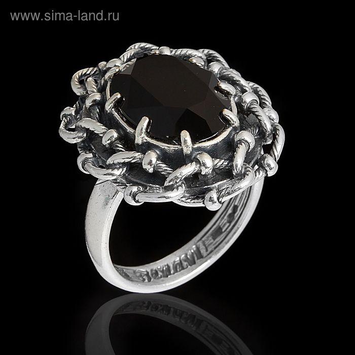 """Кольцо """"Эланта"""", размер 19, цвет чёрный в чернёном серебре"""
