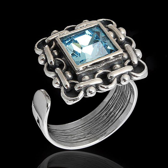 """Кольцо """"Меган"""", безразмерное, цвет голубой в чернёном серебре"""