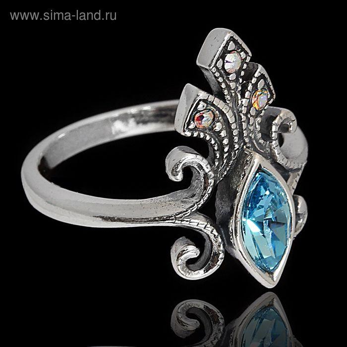 """Кольцо """"Ноттингем"""", размер 18, цвет голубой в чернёном серебре"""