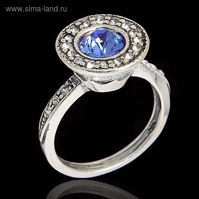 """Кольцо """"Лоо"""", размер 17, цвет голубой в чернёном серебре"""