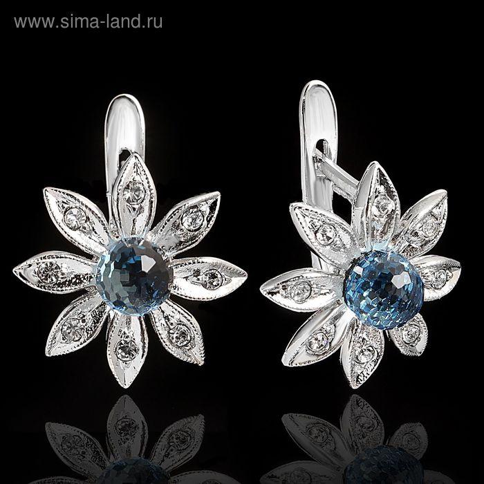 """Серьги """"Сель"""", цвет голубой в серебре"""