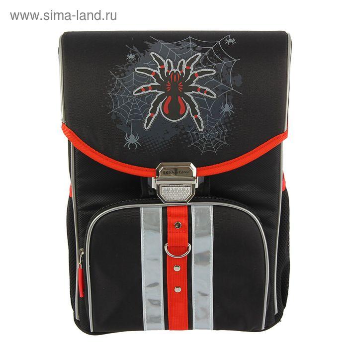 Ранец на замке Erich Krause Generic 37*29*19, для мальчика, Spider, эргономичная спинка, серый/черный, EK 39241