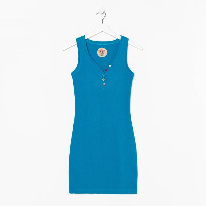 Платье женское, размер 46, цвет бирюзовый (М-256-15)