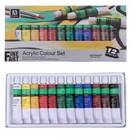 Краски акриловые, 12 цветов, в металлической тубе, 12 мл, в картонной коробке