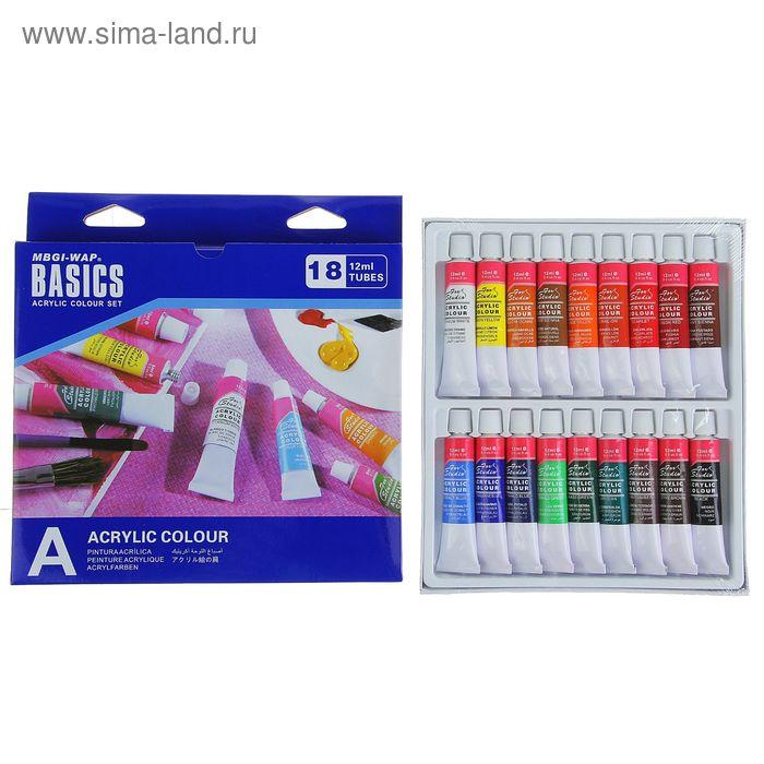 Краски акриловые 18цв Basics, в метал тубе 12мл в карт кор