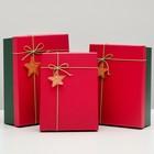 "Набор коробок 3в1 ""Классика"", красный, 29 х 21 х 8,5 - 24 х 17 х 6,5 см"