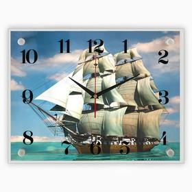 """Часы настенные прямоугольные """"Корабль"""", 40х30 см"""