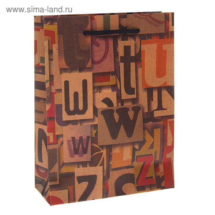 "Пакет крафт ""Алфавит"", 15 х 20 х 6 см"