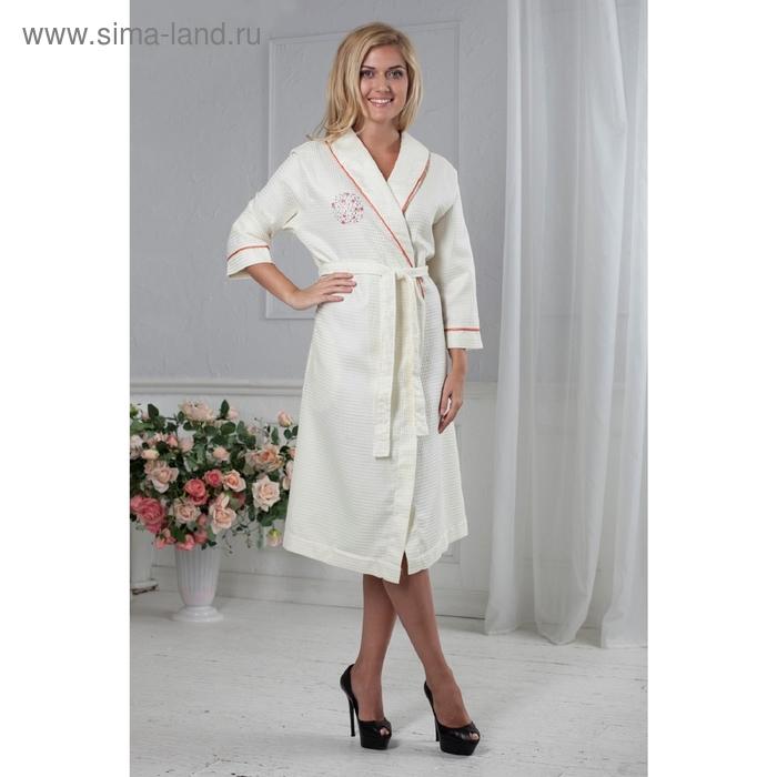 Халат женский Camilla с вышивкой, размер L/XL, цвет кремовый 220 г/м2