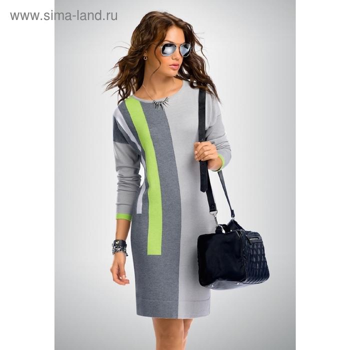 Платье женское, размер XL, цвет серый+салатовый KDJ663