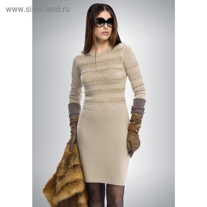 Платье женское, размер L, цвет песочный KDJ108